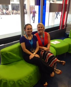 "Students Tabby Wilson and Emily Griffin sit on the set of the BBC's ""One Show"""