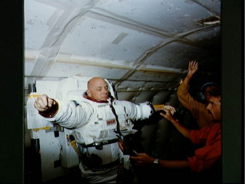 Story Musgrave in space suit. Photo courtesy of NASA.